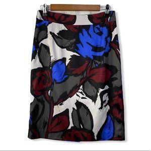 Trina Turk Silk Blend Floral Straight Skirt